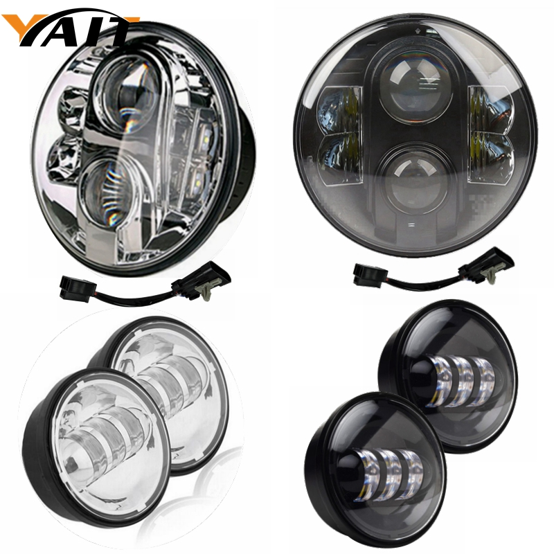 Yait For Harley Davidson Ultra Classic Electra Glide Street Glide Fat Boy 7 inch Daymaker LED Headlight 4.5 inch Fog Lights 5 75 5 3 4 chrome headlight housing bucket for harley electra glide bad boy