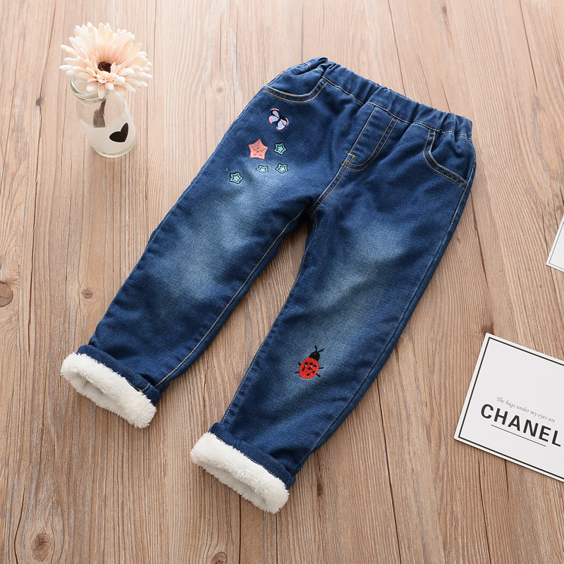 Kids Winter Jeans Girls Cartoon Warm Denim Jeans Baby Thick Winter Trousers Children Warm Pants Kids Winter Clothes new thick warm winter jeans women skinny stretched denim jean pant plus size casual office lady pencil pants cheap clothes xxxxl