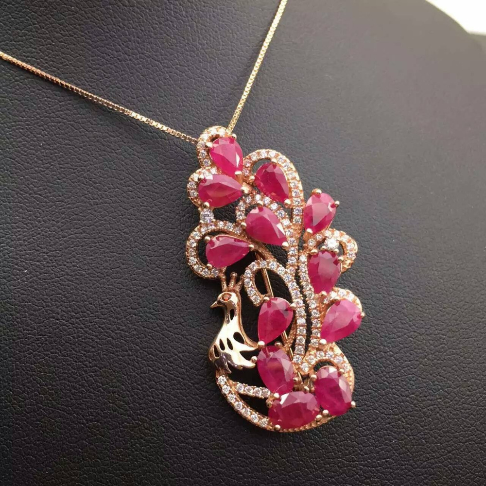 Natural red ruby brooch S925 silver Natural gemstone brooch Pendant trendy luxurious peacock women two wears party fine jewelry - 2