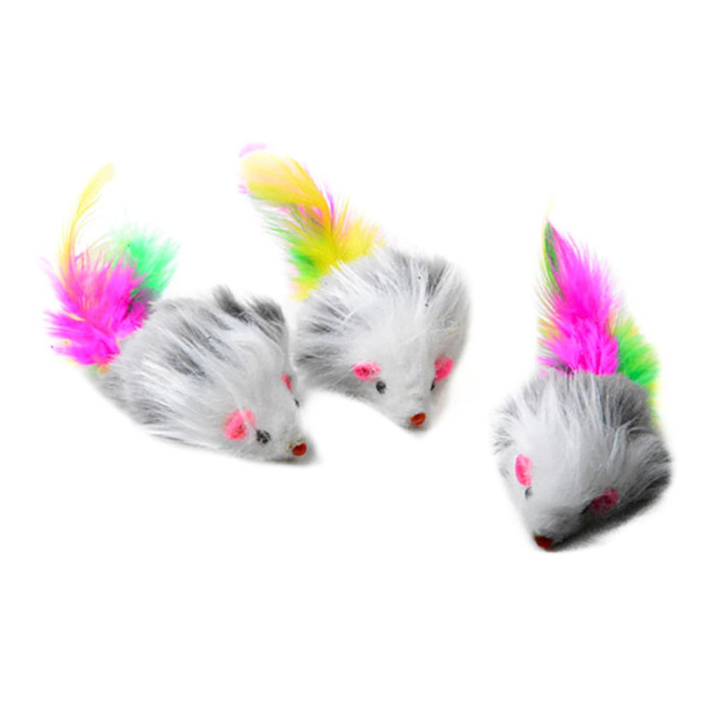 5Pcs Soft Fleece False Mouse Cat Toys Colorful Feather Funny Playing Toys For Cats Kitten