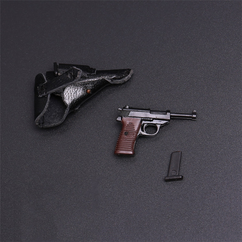1/6 Scale WWII Walter P38 P-38 Pistol Gun Model Weapon Toy Leather Case Cartridge Detachable For 12 Inches Soldier Figure