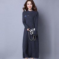 Long Autumn Dress Womens Knitting Sweater Dress Fall For Women Knitted Sweaters And Pullovers Elegant Long
