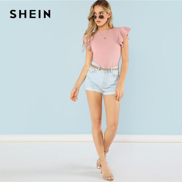 SHEIN Layered Ruffle Detail Textured Bodysuit 2018 Summer Round Neck Ruffle Bodysuit Clothing Women Pink Solid Casual Bodysuit