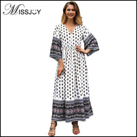 MISSJOY-Women-autumn-2018-Fashion-Boho-Clothing-Flare-Sleeve-V-Neck-Geometric-Contrast-Color-Tea-Party