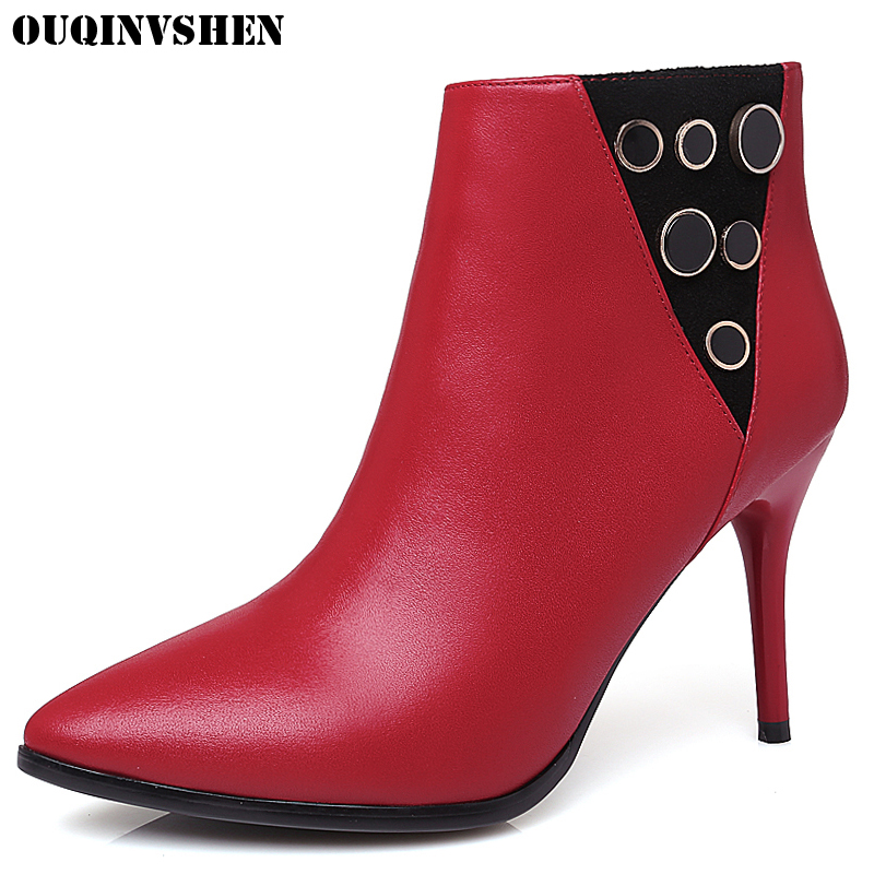 OUQINVSHEN Zipper Pointed Toe Boots Casual Fashion Women Ankle Boots Thin Heels Metal Decoration High Heels Ladies Girl Boots fashion pointed toe lace up mens shoes western cowboy boots big yards 46 metal decoration