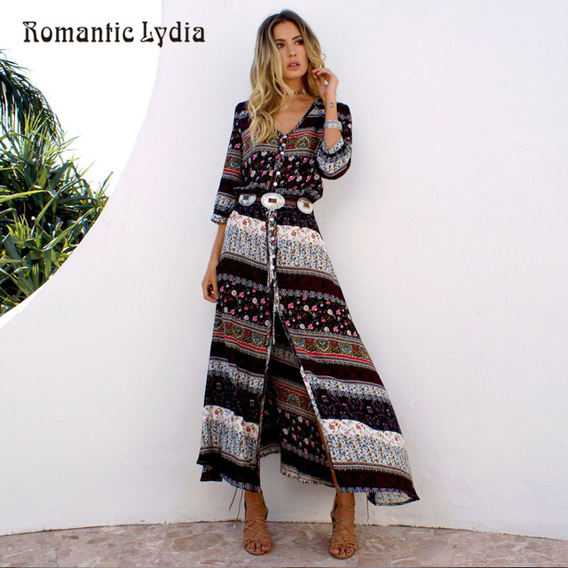 c825f5898fe Women Long Party Dress Maxi Floor Length Casual Split Retro Summer Dresses  2018 Boho Bohemian Vestidos