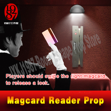 Kaçış bulmaca mag kart okuyucu prop odası kaçış oyunu tokatlamak sağ mag serbest bırakmak için bir kilidi JXKJ1987 maceracı oyunları