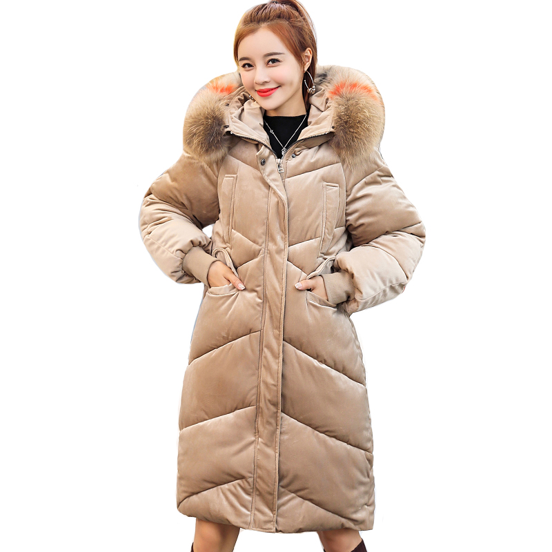 2019 Velvet Women Winter Down Coat Warm Thicken High Quality Female Jacket Hooded Long Padded Parka Parkas