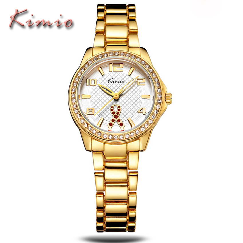KIMIO Brand Luxury Women Watches Rhinestone Business Ladies Clock Casual Waterproof Relogios Gold Big Dial Digital Quartz Watch kimio brand bracelet watches women reloj mujer luxury rose gold business casual ladies digital dial clock quartz wristwatch hot