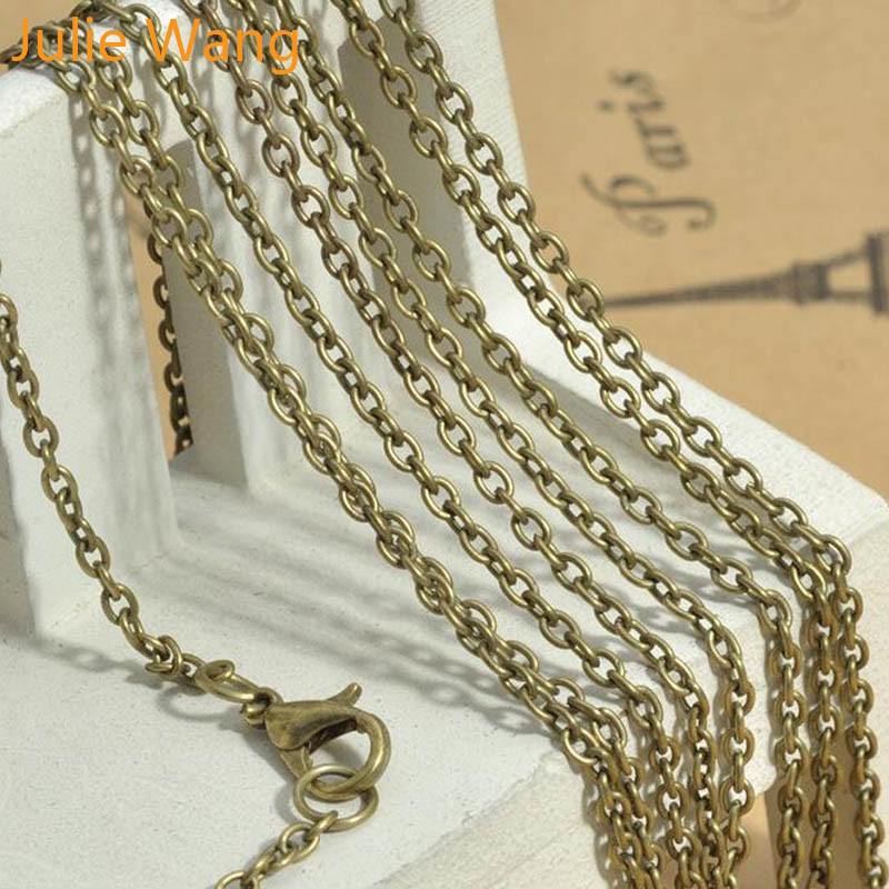 Julie Wang 1pcs 2mm 45cm/60cm/80cm Iron Necklace Pendant Beads Chain For Women Men DIY Jewelry Making Handmade Crafts Finding(China)