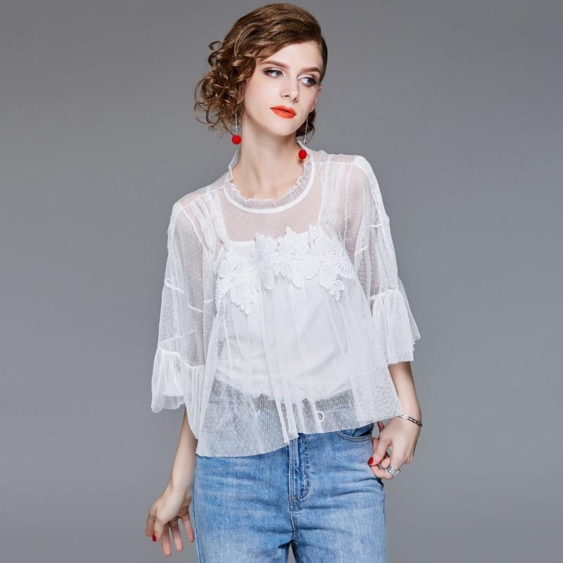 Été tops pour les femmes 2018 Mode Flare Manches Maille Perspective Solide couleur soluble dans L'eau Dentelle Blouses Blanc Noir Shippin Libre