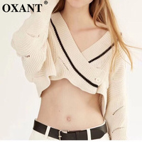 OXANT Sexy Crop Tops Sweater Women V Neck Batwing Sleeve Knitting Cardigan Coat Female Fashion Casual Clothes 2019 Autumn