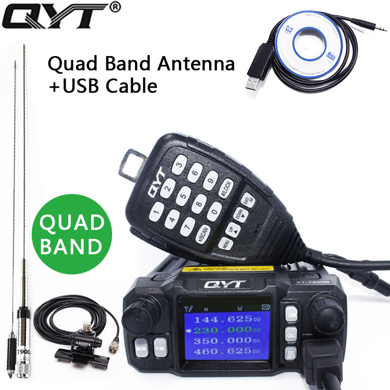 QYT KT 7900D 25W Quad Band Mobile Radio Walkie Talkie 136 220 350 480MHZ 4 Bands