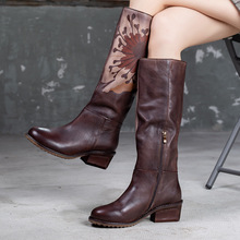 купить Autumn and Winter Retro 2019 New Retro Genuine Leather Women's Boots Coarse-heel High Boots Handmade Knee-high Boots дешево