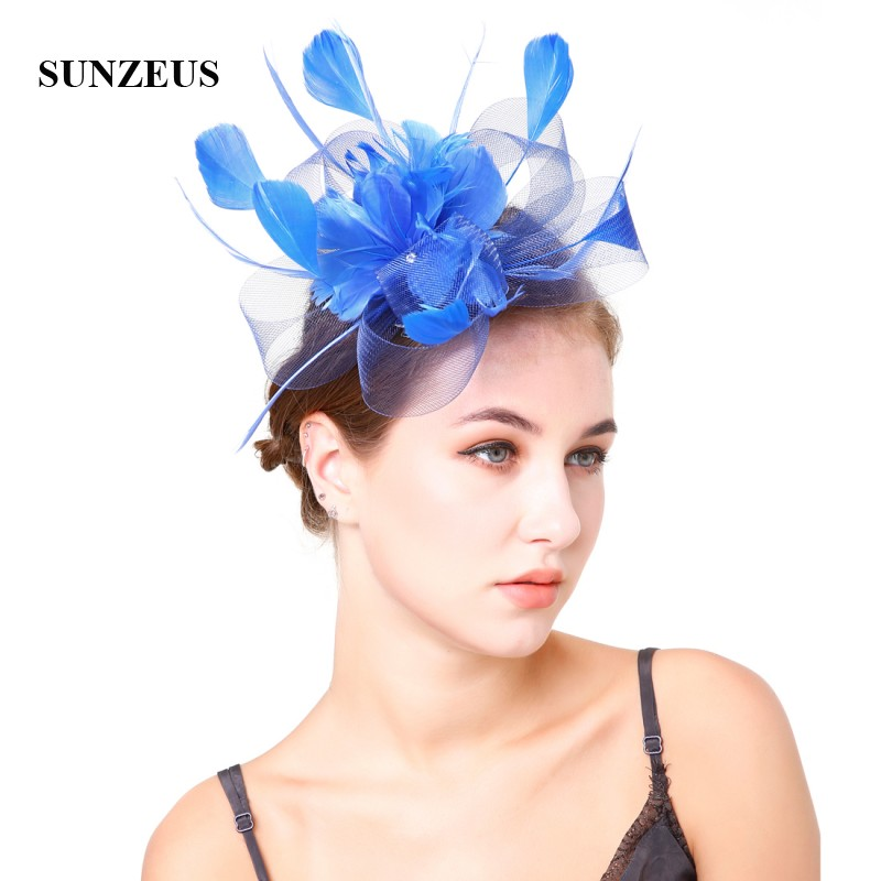 Blue Feathers Hats For Women Tulle Flower Sharp Ivory Bridal Hats Wedding Hair Accessories Sombrero Mujer Boda SH46