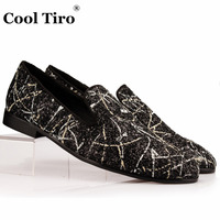COOL TIRO Casual High Quality Black sequins low Top Shoes Graffiti Slip On Dress Smoking Slippers men Handmade Party Flats
