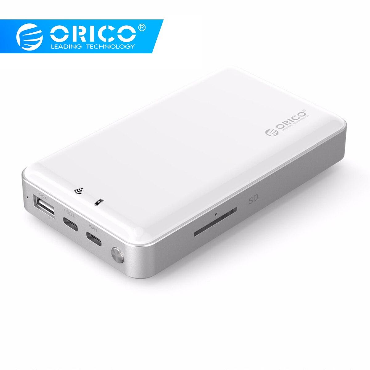 ORICO 2.5 pouces Wifi HDD boîtier privé HDD Cloud stockage Support SD/TF carte hors ligne de sauvegarde 8000 mAh batterie externe USB3.1 Gen1/2
