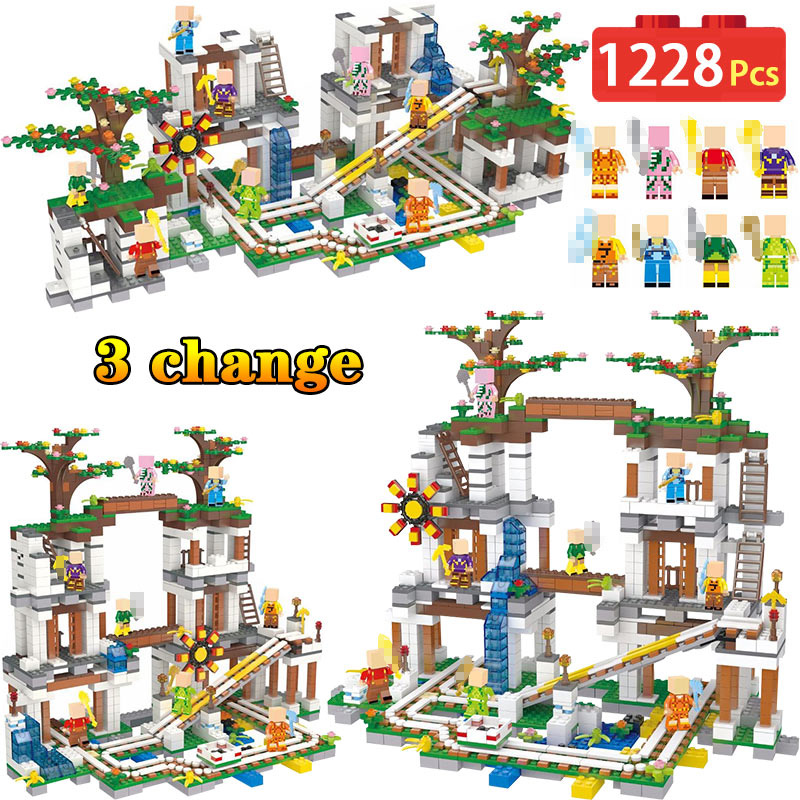 Legoing Minecrafted Slide Cave Organ Mine Slide Bricks My World Mini Sets Figures Building Blocks Toys For Children Gifts