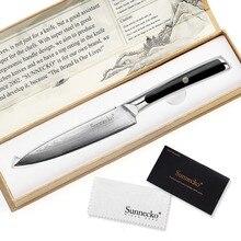 """SUNNECKO cuchillo de acero damasco de 5 """", cuchillo japonés VG10, hoja de núcleo, cuchillos de cocina, mango G10, cortador de carne de verduras para Chef"""