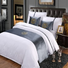 RAYUAN Grey Suede S Sign Double Layer Bed Runner Scarf Bedspread Bed Cover Hotel Bedding Decor Single Queen King 3 Size(China)