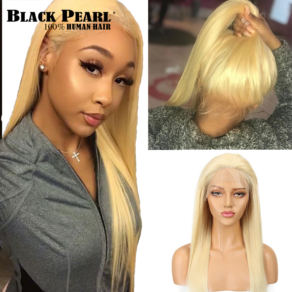 613 Blonde Lace Front Wig With Baby Hair Brazilian Straight Remy Human Hair 613 Frontal Wigs 14-18 Inches 150% Density image