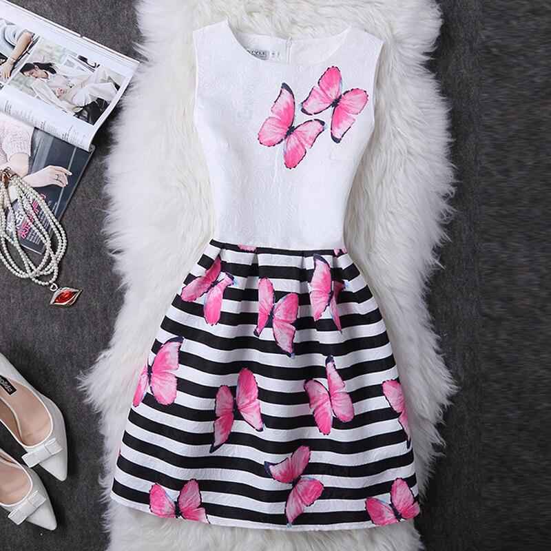 2017 estilo de moda de verano impresión de la mariposa de las mujeres dress del