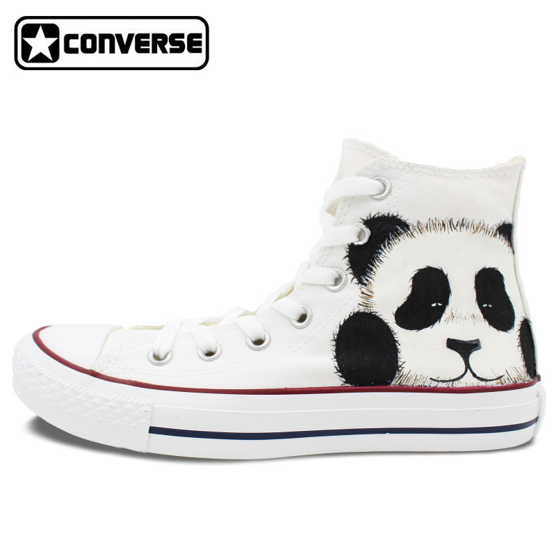Women Men Shoes Panda Original Design Converse All Star Hand Painted Canvas Shoes Woman Man Sneakers Boys Girls Christmas Gifts  classic original converse all star minim musical note design hand painted shoes man woman sneakers men women christmas gifts