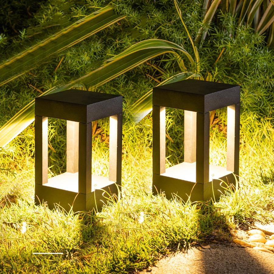 Thrisdar 10W al aire libre jardín Pilar césped lámpara impermeable Villa patio valla calle luz paisaje camino columna Luz Luz LED de calle 100W 220 V, reflector de pared, luz exterior para jardín, calle, calle, camino, lámpara de inundación IP65 impermeable