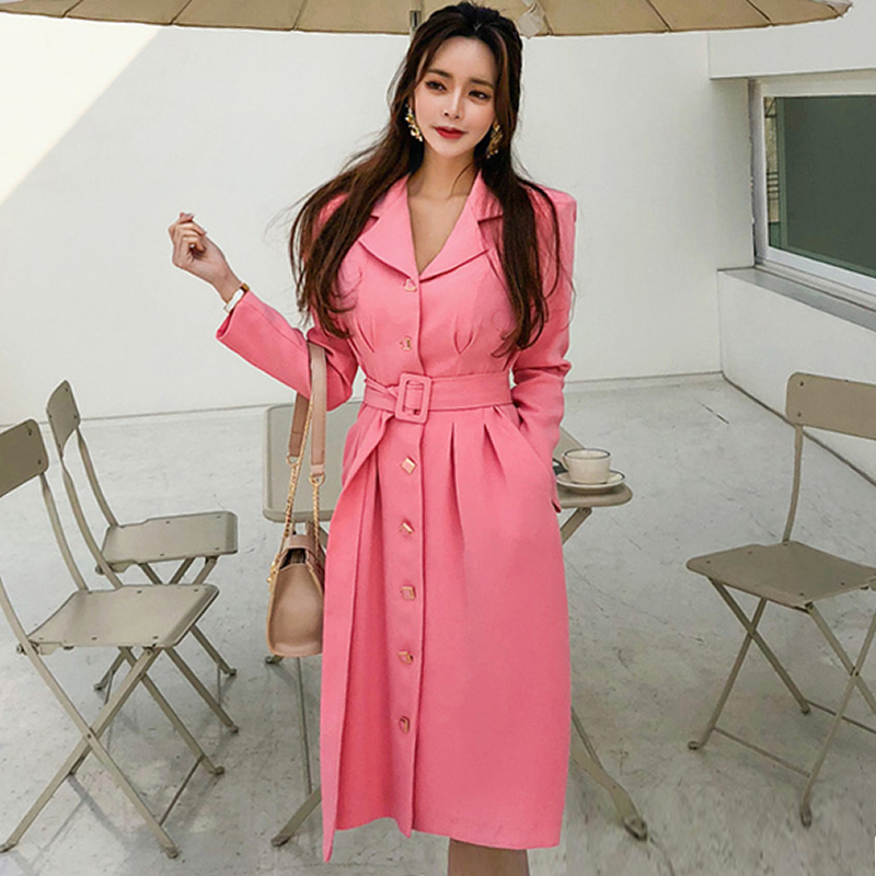 2019 Spring OL Notched Single Breasted Sashes Vestidos Knee Length Pleated Casual Loose Pink Work Blazer
