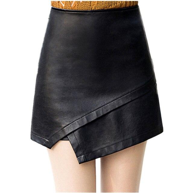 85553fa9fa 2018 Sexy Mulheres Bodycon Saia de Couro PU Mini Shorts Saias Preto Saia  Curta Plus Size