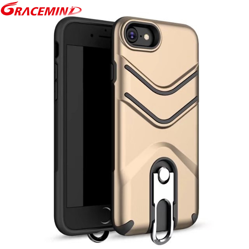 New Arrival ShockProof Armour Soft TPU+PC Hard Case back cover For Iphone 7 8 Phone With Metal Kickstand Iphone7Plus 8Plus case