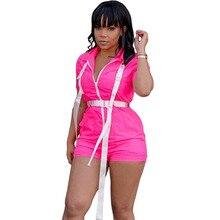 Неоновый цвет комплект с шортами комбинезон для фитнеса женские пряжки спереди на молнии с короткими рукавами летние комбинезоны прямые спортивные повседневные Комбинезоны