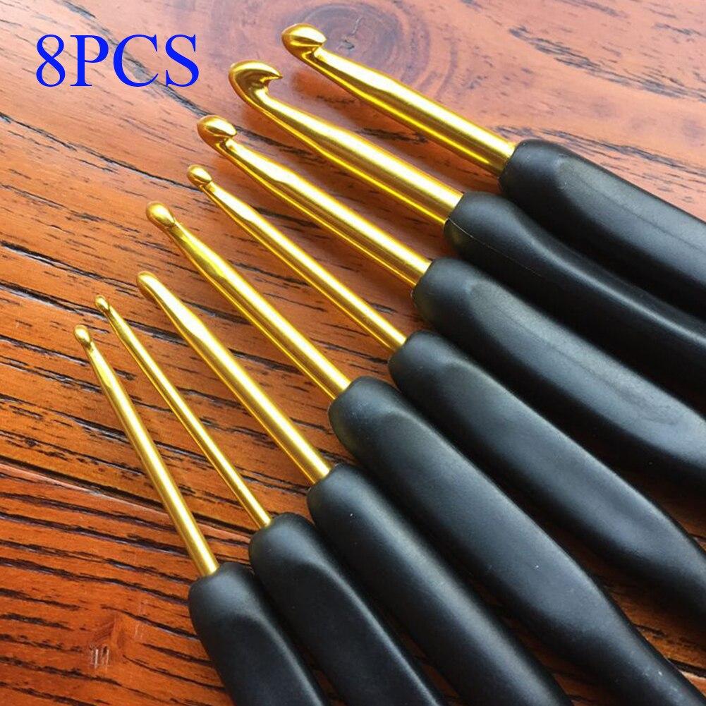 8 шт. набор крючков ручной работы, мягкие ручные стежки, швейные инструменты, домашние спицы из алюминиевого сплава, ручка для рукоделия, эрг...