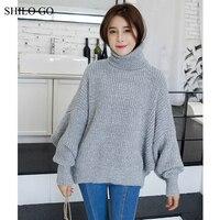 SHILO GAAN Trui Womens Korea Winter Mode Beknopte losse lange Bladerdeeg Mouwen jas Stand Kraag lichtgrijs oversize Trui