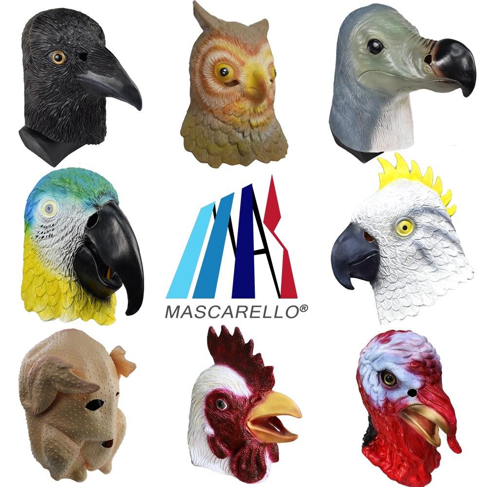 MASCARELLO Latex Full Head Animal Bird Parrot Mask Adult Halloween Party Costume