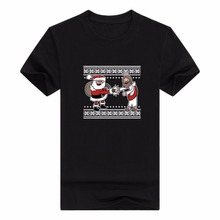 Christmas tshirtmens fashion t-shirt  solid color Team Santa and Jesus Ugly Christmas Sweater Themed Premium Men's T-Shirt