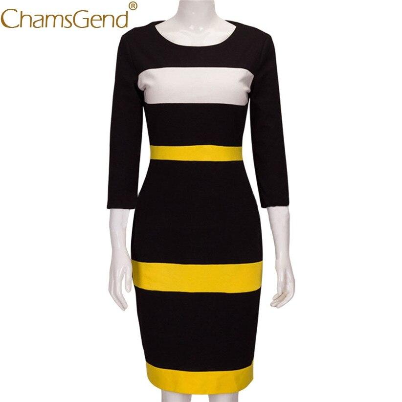 Chamsgend Newly Design Women Fashion Knitted Round Neck Three Quarter Striped Pencil Dress OL Formal Slim Sheath Vestido 71024 economic newly design 2 4mx1 2mx3cm cheap gymnastic mats