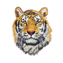Tiger Head Animal Patch Embroidered Iron On Patches Fabric Sewing Applique for Jacket Clothes Badge DIY Apparel