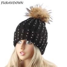 Women's Beanie Hat Casual Thick Knitted Rhinestones Beanies Fur Pompom Winter Hats For Women Skullies Cap недорго, оригинальная цена