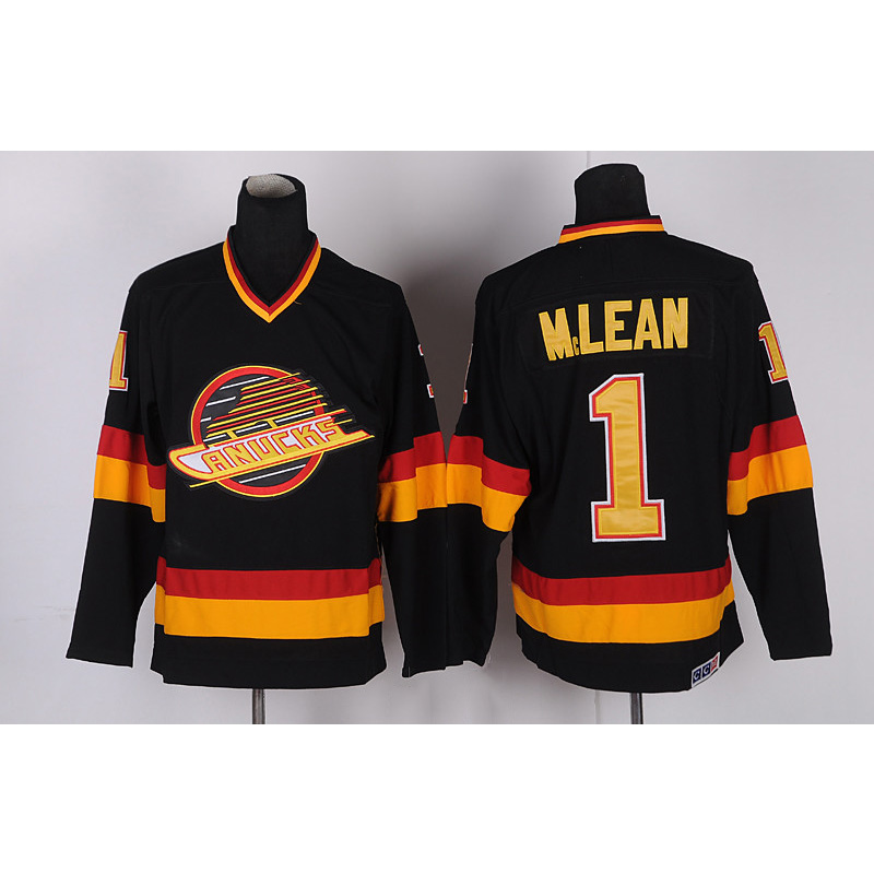 Mens Retro Kirk McLean Stitched Name&Number Throwback Hockey Jersey custom men woman youth produce any hockey team size color jerseys sewn on any name number loge home road third embroidery jersey