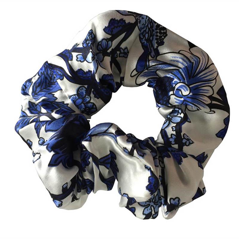 Nytt 100% rent blommigt hår Scrunchies Charm Hårband Hästsvans Hår Slips Hårtillbehör för kvinnor Tjejer dagligen