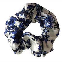 New 100% Pure Silk Floral Hair Scrunchies Charm Hair Bands Ponytail Hair Ties Hair Accessory for Women Girls Daily