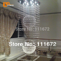 new square design modern chandelier crystal lamp lustre light fixtures staircase light length 50cm