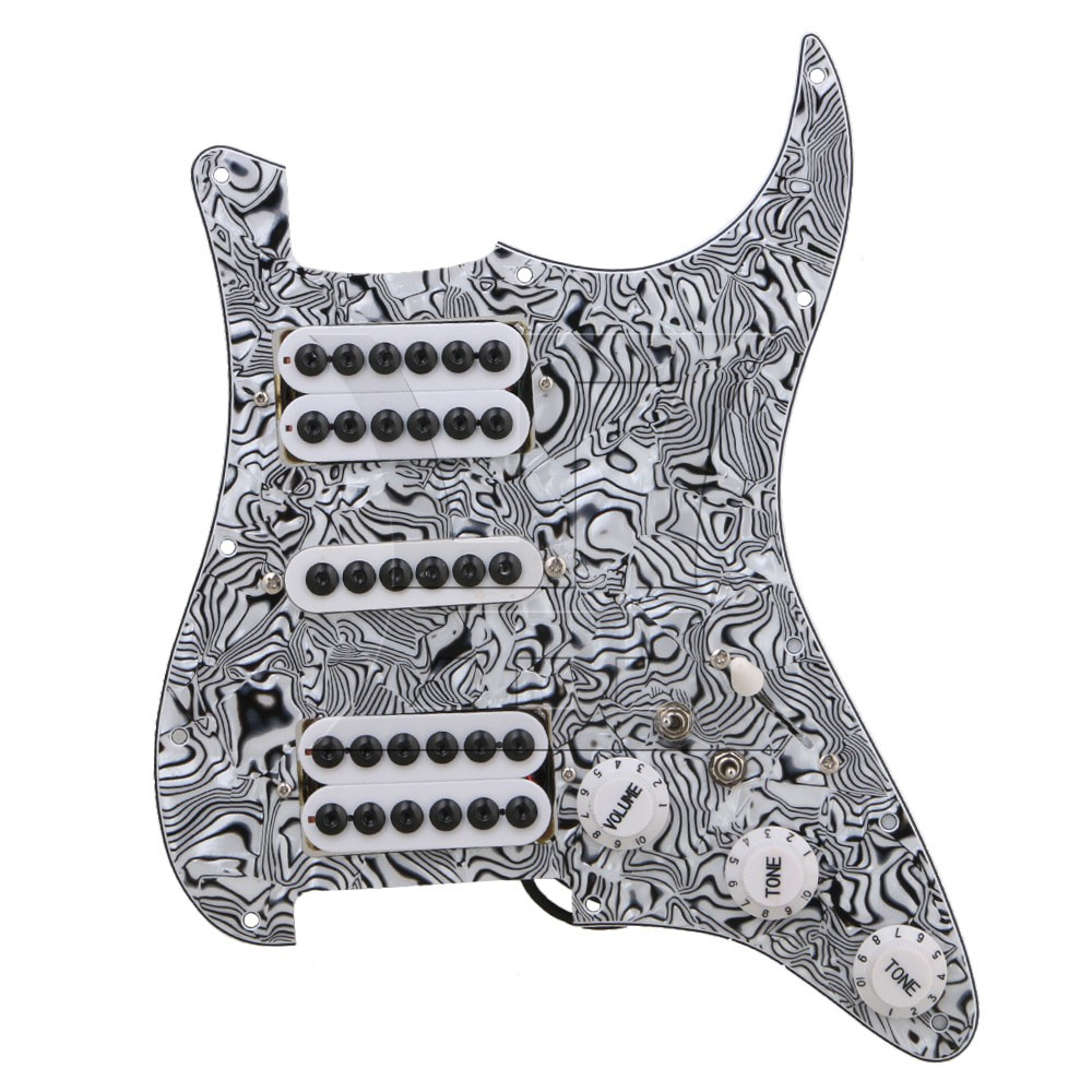 Yibuy Black White Zebra Color 3-ply HSH Electric Guitar Loaded Prewired Pickup Pickguard for Electric Guitar zy hrc60 s
