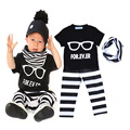 Retail Glasses Girl Boy Clothing Set For EV ER Baby Clothes Letter Pattern T-shirt+Stripe Pants+Scarf Kids 3pcs Sets bebe roupa