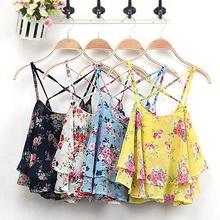 Women's Summer Sleeveless Strap Flower Print Chiffon Shirt Vest Blouses Crop Top