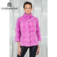FURSARCAR New Arrive Genuine Mink Fur Coat For Women Rose color Stand Collar Winter Warm Winter Short Natural Mink Fur