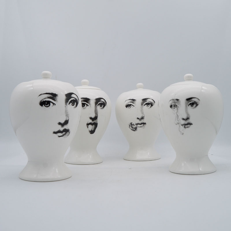Mlian Human Face Storage Jar Ceramic Candy Storage Little Pot with Lid for Home Decoration Kitchen Tea Canisters Dispenser