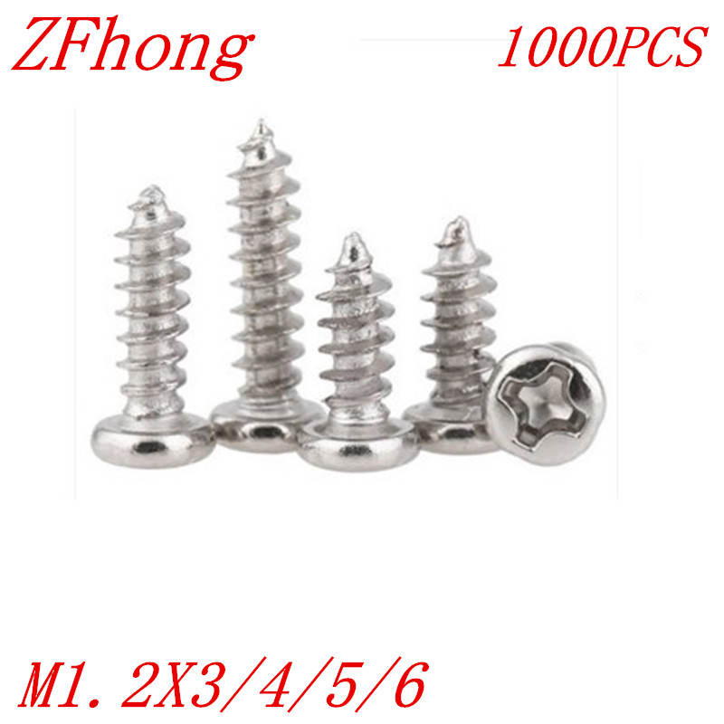1000PCS M1.2*3/4/5/6  1.2mm nickel plated micro electronic screw cross recessed phillips round pan head self tapping screw 500pcs m2 4 5 6 8 10 12 2mm nickel plated micro electronic screw cross recessed phillips round pan head self tapping screw