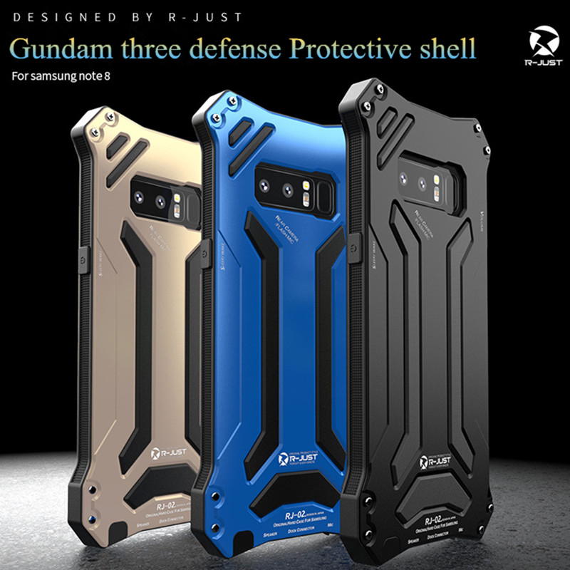 R-JUST Gundam Armor phone case For Samsung Galaxy Note 8 S8 S8 Plus S9+ shockproof Aluminum Metal protection Cover